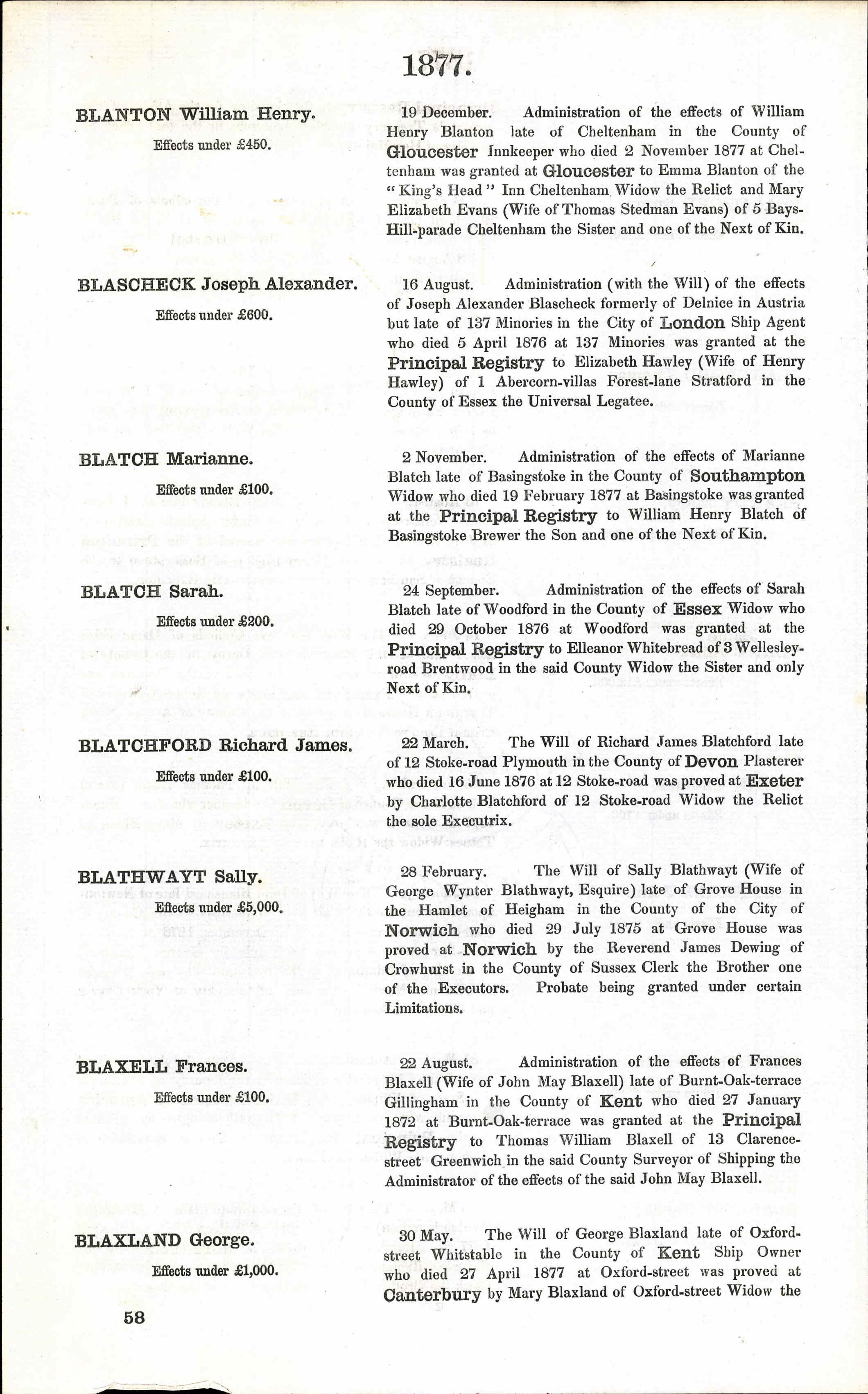 Documents: England & Wales, National Probate Calendar (Index